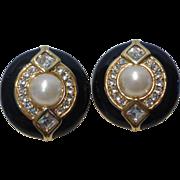 Swarovski Swan Signed Crystal Rhinestone Black Enamel Faux Pearl Earrings