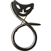 Vintage 1940's Sterling Silver Modernist Cat Brooch Pin Mexico