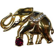 Swarovski Signed Circus Elephant Brooch Pin w Ruby & Clear Crystals