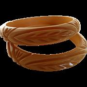 Carved Bakelite Bangle Bracelets Geometric & Leaf Pattern Pair
