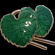 Vintage Guilloche Enamel Double Leaf Pin Brooch Norway