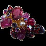 Gorgeous Kramer Austria Red & Pink Art Glass Brooch