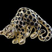 Vintage Park Lane Enameled Leopard Brooch Signed