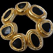 Vintage Gold Tone Black Enamel Modernist Circle Pin Brooch