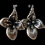Vintage Cast Pewter Wild Flower Earrings