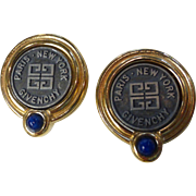 Vintage Signed Givenchy Logo Earrings Gold Tone, Pewter & Blue Glass Cabachons