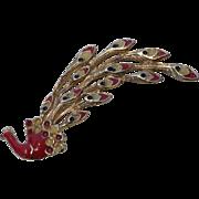 Vintage Enamel Peacock Brooch Pin Gold Tone