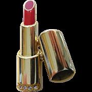 1970's Lipstick Pin Brooch Gold Tone, Enamel & Rhinestones