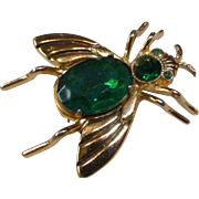 Vintage Coro Pegasus Jelly Belly Insect Pin Emerald Glass Book Piece