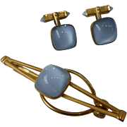 Early 1940's Opalescent Stone Cufflinks & Tie Bar Clasp Set by Swank