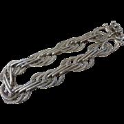 Vintage 950 Sterling Silver Triple Link Chain Bracelet