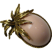 Vintage Big Whisper Pink Lucite Cabochon Pin Brooch
