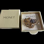 Monet Brooch Gold Tone Filigree Blue Rhinestone Spray MINT in Original Box