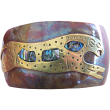 1960s Mixed Metal Copper and Brass Cuff with Jaguar and Abalone Inlay Mexico
