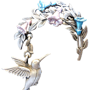 Vintage JJ Jonette Signed Hummingbird & Flowers Enameled Pewter Pin Brooch