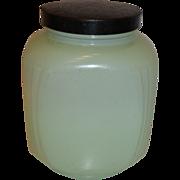 Hazel Atlas Fired-On Jadite Green Ribbed Kitchen Canister Jar