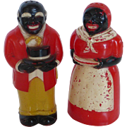 F&F Hard Plastic Black Americana Salt & Pepper Shaker Set