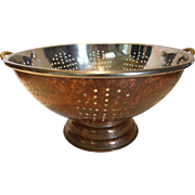 Large Copper Clad Stainless Steel Colander with Brass Handles