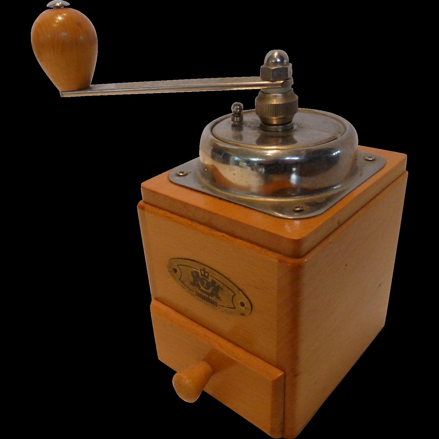 Coffee Mill Grinder ~ Vintage zassenhaus wooden crank coffee mill grinder