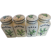 Moriyama Green Cherry Blossom Spice Shaker Set - Salt, Pepper, Flour Sugar