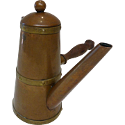 Vintage Copper Turkish Coffee Pot Wood Handle