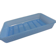 Rare Blue Glass 1940's Refrigerator Icebox Glass Chiller Tray Dish