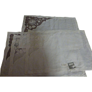 Vintage Imperial Coronet Madeira Embroidered Linen Organdy Placemats Set of 4