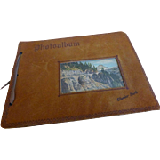 1940's Leather Souvenir Photo Album Glacier National Park