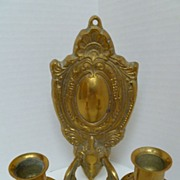 Vintage Brass Double Arm Candle Sconce England