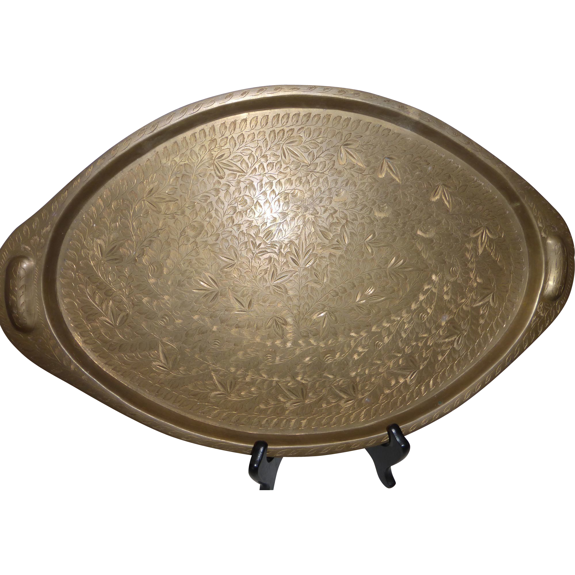 Vintage India Engraved Brass Serving Tray Platter From