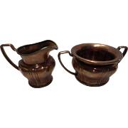 Antique S. Sternau & Co Copper Sugar & Creamer Set