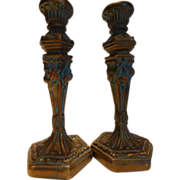 Antique Tall Barbola Gold Gesso Candlesticks Pair - Red Tag Sale Item