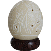 Carved Ostrich Egg on Carved Wood Stand Giraffes