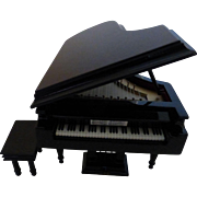 "Black Lacquer Baby Grand Piano Music Box with Bench  Beethoven ""Für Elise"""
