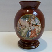 German Porcelain Hand Painted Portrait Vase Three Rubenesque Women