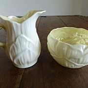 Vintage Belleek Cream & Sugar Set 'Lily' Pattern - Third Mark Mint