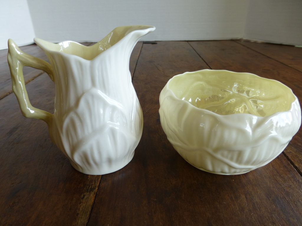 Vintage Belleek Cream & Sugar Set - Third Mark Mint