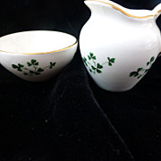 Carrigaline Porcelain Demitasse Creamer & Sugar w Shamrocks Cork Ireland