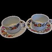 French Limoges Porcelaine Des Paris Les Quatre Saisons I Magnin Cups & Saucers Set of 2 Pairs