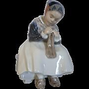 """Royal Copenhagen Amager Girl Knitting by Lotte Benter Figurine #1314 Denmark 6"""""""