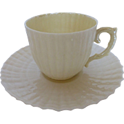 Irish Belleek Demitasse Cup & Saucer Set Limpet Yellow 4th/1st Green Mark