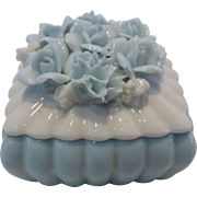 Vintage Irice Porcelain Trinket Box with Applied Porcelain Flowers on Lid