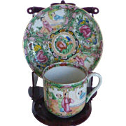 Chinese Export Porcelain Famille Rose Medallion Demitasse Cup & Saucer