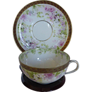 Beautiful Victorian Era Limoges France Petite Cup & Saucer Hand Painted Circa 1893-1930