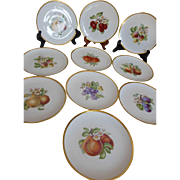 Hutschenreuther Selb LHS Fruit Plates Gold Trim Bavaria Germany Set of 10