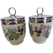 Royal Worcester Egg Coddlers 'Lavinia' Double King Size Pair