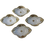 Early 1900's Nippon Moriage Hand Painted Nut Dishes Morimura Bros Set of 4