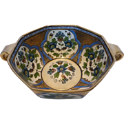 Rare Antique Noritake Morimura Art Deco Bowl Hand Painted Gilded Two Handled