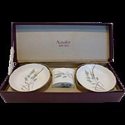 Aynsley Bone China Cigarette Holder and 2 Ashtray Set w/Box England