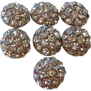 Vintage Silver Tone Rhinestone Buttons Set of 7